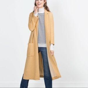 ZARA Long Open Overcoat Knit Duster Flaxen Yellow